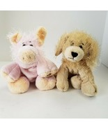 Ganz Webkinz Golden Retreiver Puppy and Pink Pig Plush Stuffed Animal Toy Doll  - £11.41 GBP