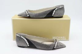 NIB MICHAEL Michael Kors Black White Studded Ella Flats  7 New - $98.00