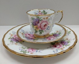 Crownford QUEEN'S Fine Bone China England FootedTea Cup, Saucer & Lunche... - $74.20