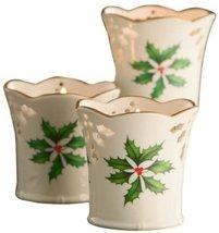 Lenox Holiday Pierced Votive / Tea Light Candle Holder Set 3 - $45.00