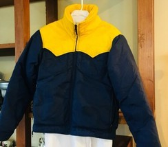 ALTRA Navy Blue Yellow Winter Snowboarding Ski Down Coat Boulder Co S/M - $17.49