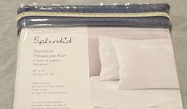New NIP SPLENDID White 100% Cotton Washed Percale Standard Pillowcase Pair image 3