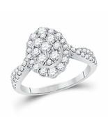 10kt White Gold Round Diamond Oval Bridal Wedding Engagement Ring 1 Ctw - £749.08 GBP