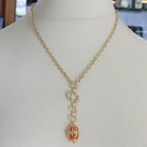 SILVER 925 NECKLACE YELLOW GOLD PLATED WITH HANGING CHARM MILLED AND CARNELIAN image 1