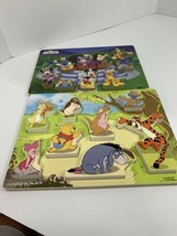 Lot Of 2 Disney Wooden Chunky Knob Puzzle Mickey Mouse Club & Winnie The... - $16.13