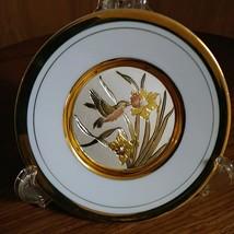 """VTG WESTLAND COLLECTIBLE PLATE JAPAN HUMMINGBIRD 6"""" PORCELAIN WHITE  24K GOLD PL image 1"""