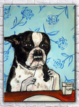 animal Art oil painting printed on canvas home decor Boston terrier  - $12.99+