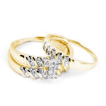 14k Yellow Gold His Hers Round Diamond Cluster Matching Bridal Wedding Ring Set - $551.00