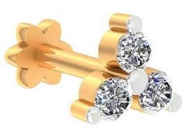 0.08ct Certified Diamond 10k Yellow Hallmarked Gold Three Stone Nose Pin AU - $232.56