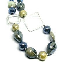 NECKLACE BLUE GRAY ROUNDED DROP, SPHERE, EXAGON MURANO GLASS SQUARE ITALY MADE image 2
