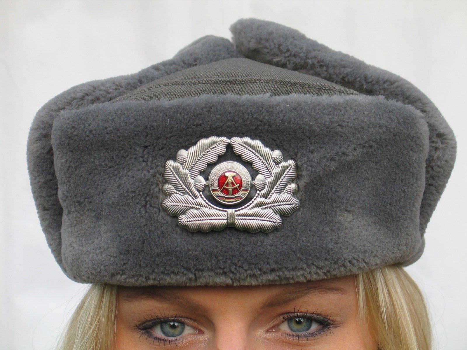 d370c48a27df East German army grey fur lined winter hat and 25 similar items
