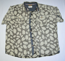 FREE PLANET Gray Leaf Reverse Print Casual Button Collared Shirt 4XL XXXXL - $34.64