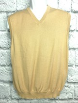 Brooks Brothers Mens V-Neck Sweater Vest Medium Tan - $29.99