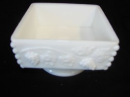 "EUC Indiana Colony Harvest Grape White Milk Glass SQUARE Candy Pedestal 3"" Tall - $12.19"