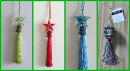 ornaments Christmas Bead Turquoise / Blue, Green, Red Star Tassel  7 1/2... - $4.03