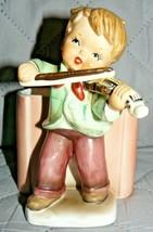 "Vintage HF Japan & Co. Boy Playing Violin pencil holder 5"" x 3 1/2"" - $18.32"