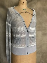 Women's Silver Thin ANTHROPOLOGIE CARDIGAN SWEATER by POSTMARK M Slinky ... - $62.81