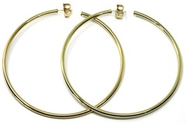925 STERLING SILVER CIRCLE HOOPS BIG EARRINGS 8.5cm x 3mm YELLOW SMOOTH image 2