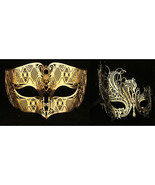Lovers Men and Women Couple Masks - Gold Laser ... - $30.95