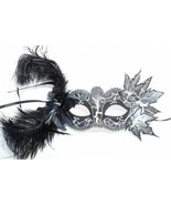 Black and Silver Masquerade Mask Feather Mask - $22.95