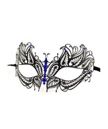 Black Butterfly Metal Laser Cut Masquerade Mask... - $10.95