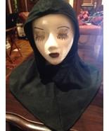 Nemesis Vintage Black Soft Wool Knit Antique Hooded Hat - $33.66