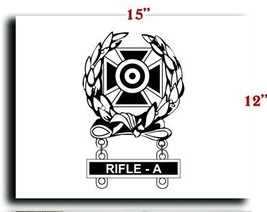 US Army Badge Marksman Badge Expert w Rifle A Qualification Bar CANVAS art pr... - $20.78