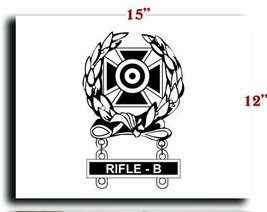 US Army Badge Marksman Badge Expert w Rifle B Qualification Bar CANVAS art pr... - $20.78