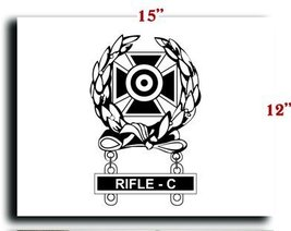 US Army Badge Marksman Badge Expert w Rifle C Qualification Bar CANVAS art pr... - $20.78