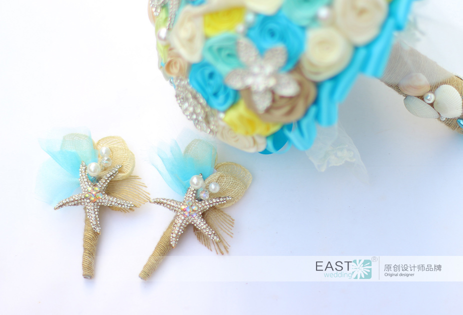 Diy Ocean Theme Beach Wedding Bouquet Blue Amp Purple Shell