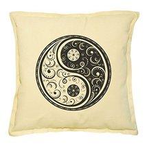 Vietsbay's Yin Yang Stamp Printed Khaki Decorative Throw Pillows Case VP... - $14.39