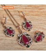 Blucome Vintage Turkey Flower Necklace Earrings Rings Jewelry Sets Resin... - $14.17