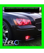 2005-2007 ORACLE DODGE MAGNUM RED PLASMA HEADLIGHT+FOG HALO ANGEL EYE RI... - $323.99