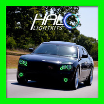 2006-2010 ORACLE DODGE CHARGER GREEN PLASMA HEADLIGHT+FOG TRIPLE HALO RI... - $368.99