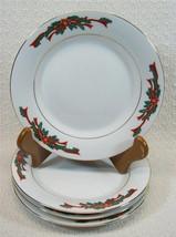 "Poinsettia and Ribbons 7"" Salad Plates Set 4 - $19.59"