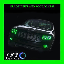 2011-2013 Jeep Grand Cherokee GREEN LED Headlight+Fog Halo Ring Kit by O... - $296.99