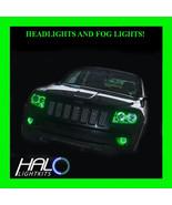 2011-2013 Jeep Grand Cherokee GREEN LED Headlight+Fog Halo Ring Kit by O... - $296.99
