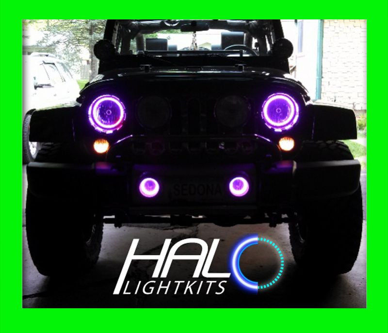 Primary image for 2007-2014 ORACLE JEEP WRANGLER UV PURPLE LED LIGHT HEADLIGHT HALO KIT 2 Rings