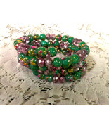 Memory Wire Bracelet Green, Pink w/ Little Yell... - $11.66