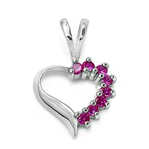 Sterling Silver Ruby Heart pendant Love Anniversary New d78 - $12.49