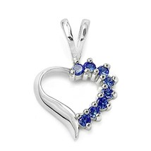 Sterling Silver Blue Sapphire Heart pendant Love Anniversary New d79 - $10.59