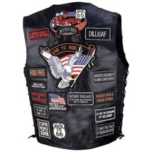Mens Black Leather Biker Motorcycle Harley Rider Vest 42 Patches 2XL Spe... - $36.99