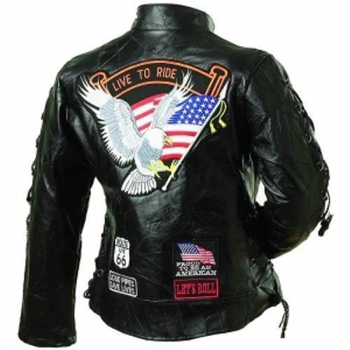 Ladies Leather Biker Motorcycle Harley Rider Jacket Eagle Patch - Special