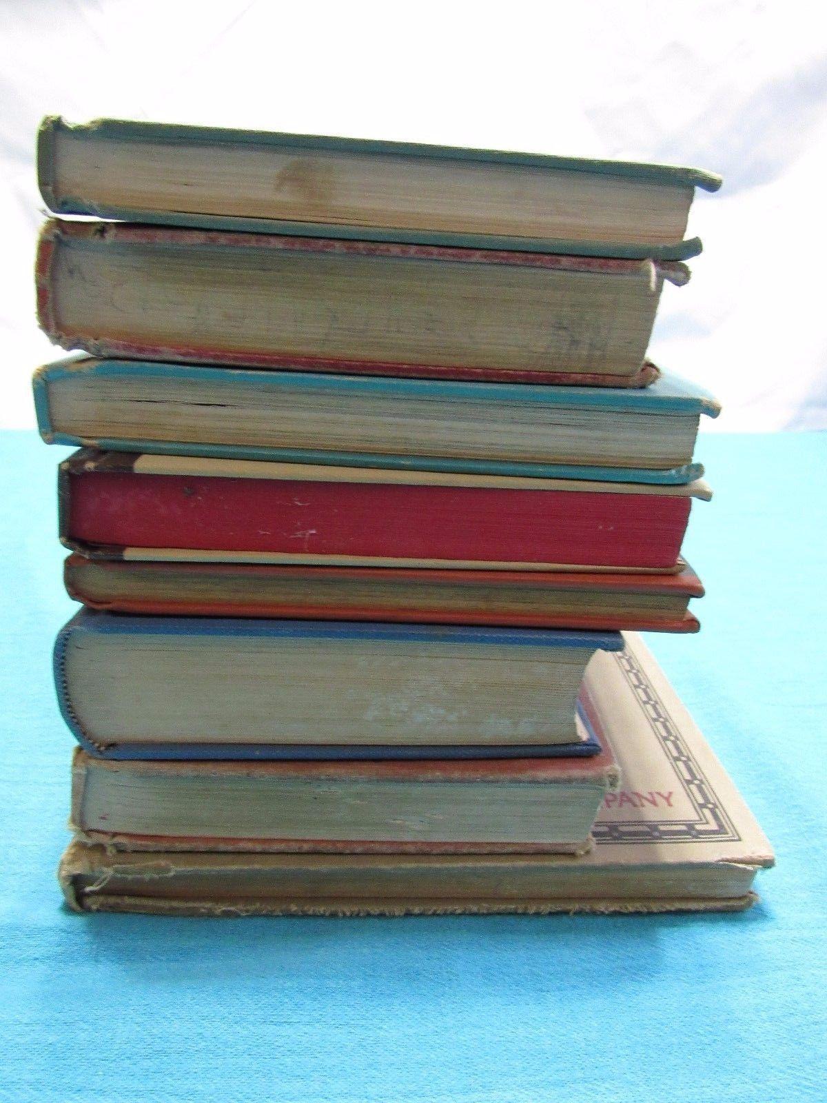Lot 8 Antique Vtg School Books Literature Math History Display Prop Set Dressing