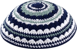 Knitted White Blue Green Crochet Kippah Yarmulke Yamaka Judaica Israel 18cm