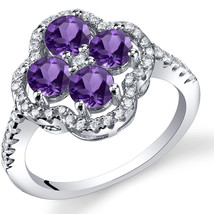 Women's Sterling Silver Genuine Amethyst Clover Halo Ring - $124.92 CAD