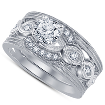 Delicate Solid 925 Silver White Simulated Diamond Engagement Wedding Ring Set - $86.97