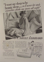 1935 CAROLE LOMBARD in Nightgown Photo in LUX SOAP Beauty Sleep Print Ad - $9.99