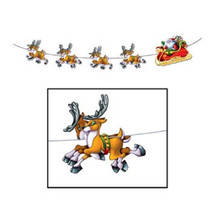 Beistle 1-Pack Santa and Sleigh Streamer, banner decoration 8-Feet - £4.58 GBP