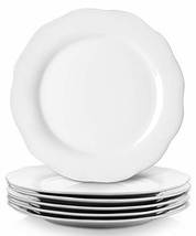 YHY 10.6 Inches Porcelain Scallop Dinner Plate Set, White Serving Platters, Set
